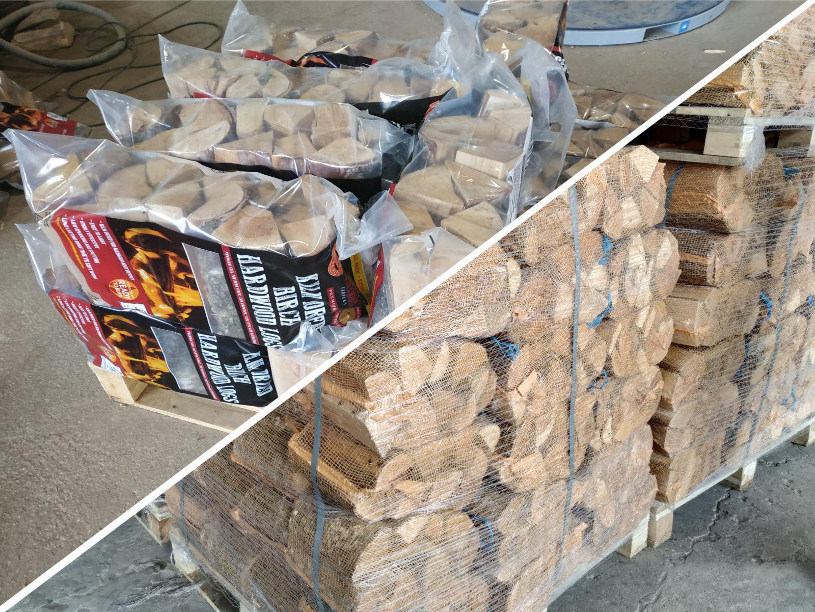 Дрова колотые из лиственных пород древесины в сетках или полиэтиленовых пакетах